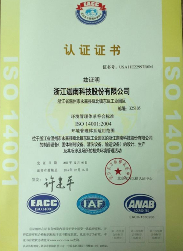 ISO14001:2004 Environment Management System Certification